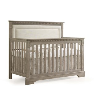 Natart Juvenile Natart Ithaca - 5-in-1 Convertible Crib with Upholstered Panel, Talc Linen Weave