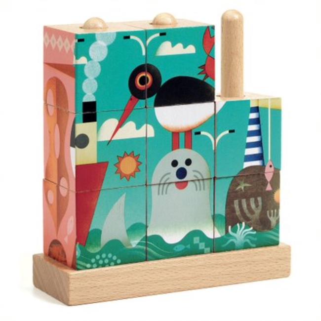 Djeco Djeco - Puz-Up Wooden Puzzle, The Sea