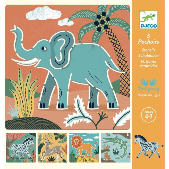Djeco Djeco - Ensemble de Pochoirs, Animaux Sauvages