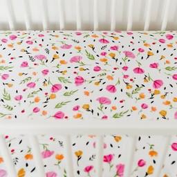 Little Unicorn Drap Contour en Percale de Coton de Little Unicorn/Little Unicorn Cotton Percale Fitted Sheet, Baies et Fleurs/Berry and Bloom
