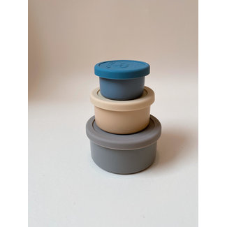 Konges Sløjd Konges Sløjd - 3 Pack Stainless Steel Round Bowls with Lids, Blue