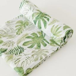 Little Unicorn Couverture en Mousseline de Coton à l'Unité de Little Unicorn/Little Unicorn Single Cotton Muslin Blanket, Tropical Leaf