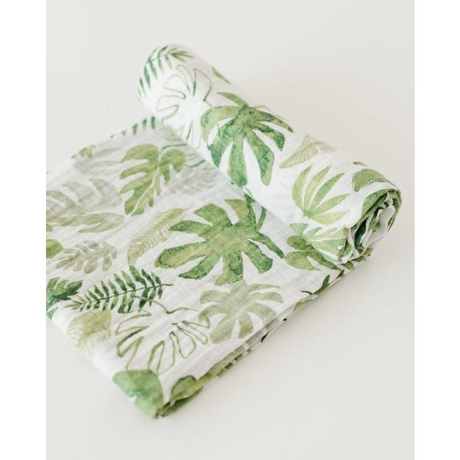 Little Unicorn Couverture en Mousseline de Coton à l'Unité de Little Unicorn/Little Unicorn Single Cotton Muslin Blanket, Tropical Leaf