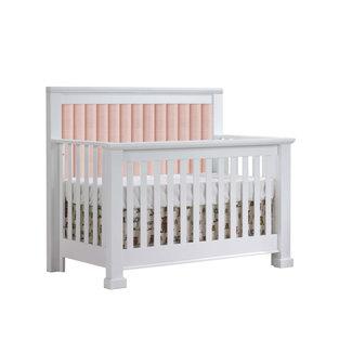 Natart Juvenile Natart Taylor - 5-in-1 Convertible Crib with Upholstered Panel, Blush