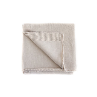 Kindly the label Kindly the Label - Baby Fine Knit Blanket Plain with Ribbed Edges, Vanilla