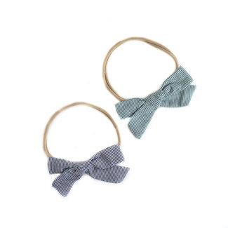Mini Bretzel Mini Bretzel - Linen Bow Headband Duo, Black and Green Stripes