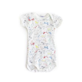 Petit Bateau Petit Bateau - Short Sleeves Onesie, White Animals Print