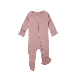 L'ovedbaby L'ovedbaby - Organic Cotton Pointelle Footie, Pink Purple