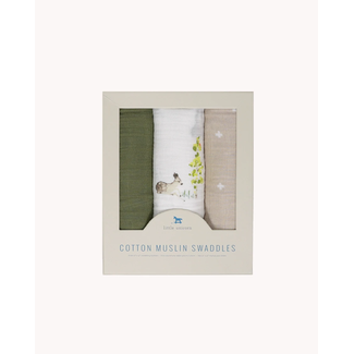 Little Unicorn Little Unicorn - Paquet de 3 Couvertures en Mousseline de Coton, Petits Cerfs