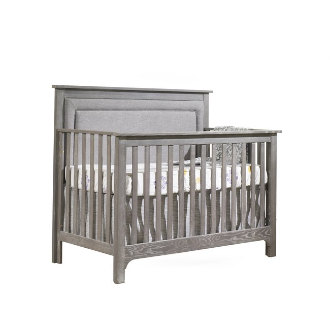 Natart Juvenile Nest Emerson - 5-in-1 Convertible Crib with Upholstered Panel, Fog Linen Weave