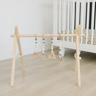 Poppyseed Play Poppyseed Play - Natural Pine Baby Gym, Grey Toys