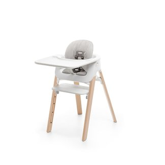 Stokke Stokke Steps - Complete High Chair with Tray and Grey Cushion, Natural Legs, White Baby Set and Seat