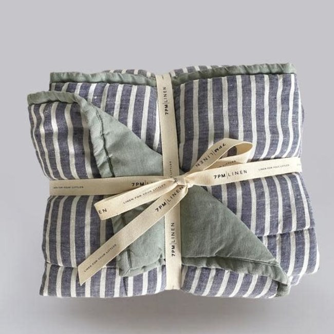 7PM Linen 7PM Linen - Linen Quilted Blanket and Playmat, Haze and Sea breeze Stripes
