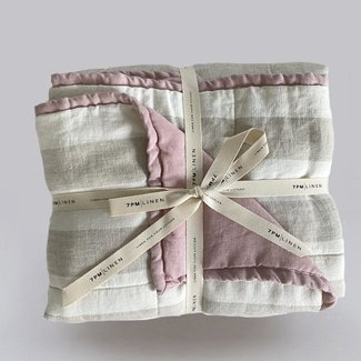 7PM Linen 7PM Linen - Linen Quilted Blanket and Playmat, Natural Stripes and Orchid