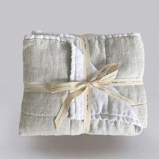 7PM Linen 7PM Linen - Couette et Tapis de Jeu en Lin, Blanc et Rayures Mini