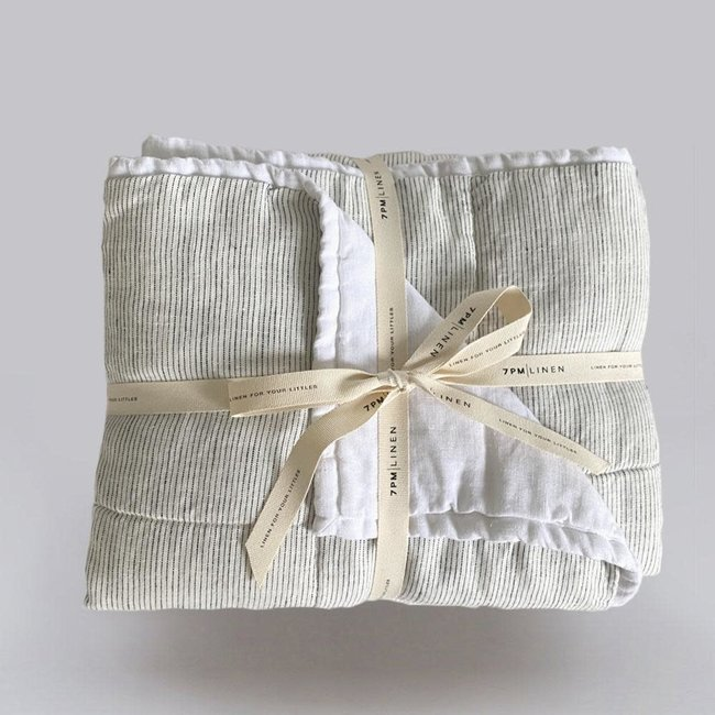 7PM Linen 7PM Linen - Linen Quilted Blanket and Playmat, White and Mini Stripes