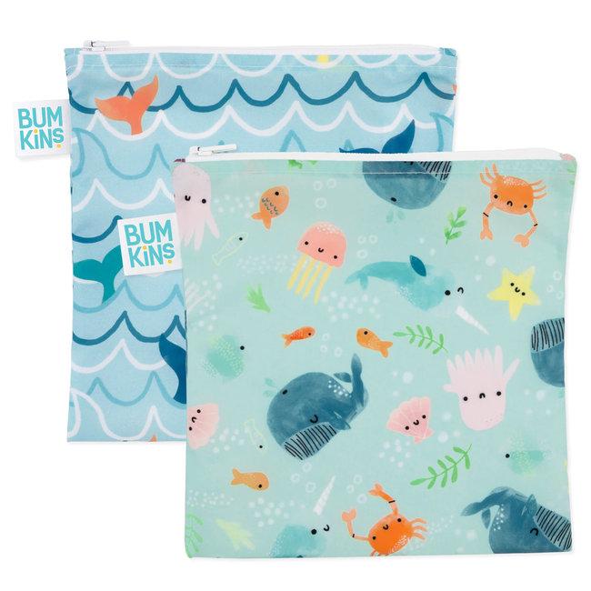 Bumkins Bumkins - Paquet de 2 Grands Sacs Réutilisables, Vie Aquatique