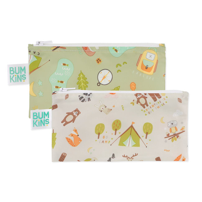 Bumkins Bumkins - Pack of 2 Reusable Snack Bags, Happy Campers