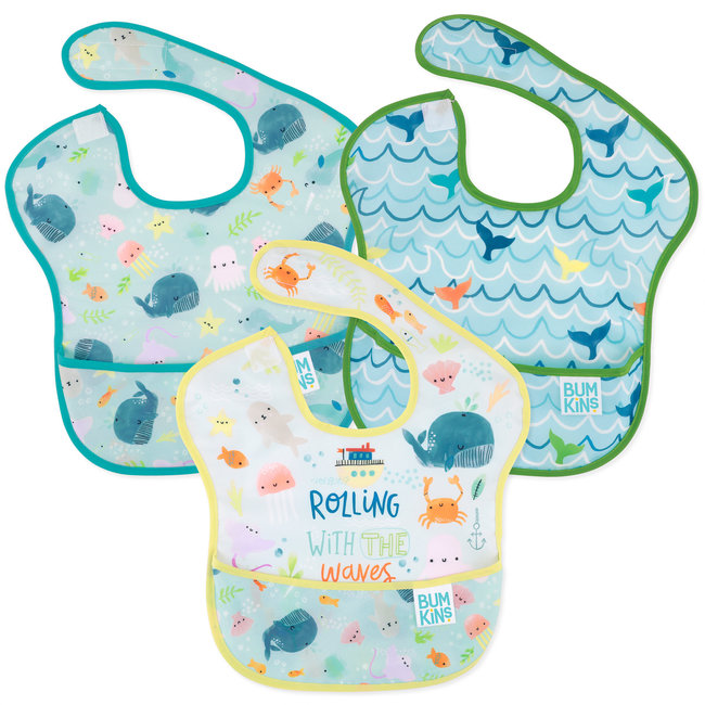 Bumkins Bumkins - Pack of 3 Superbib, Rolling with the Waves