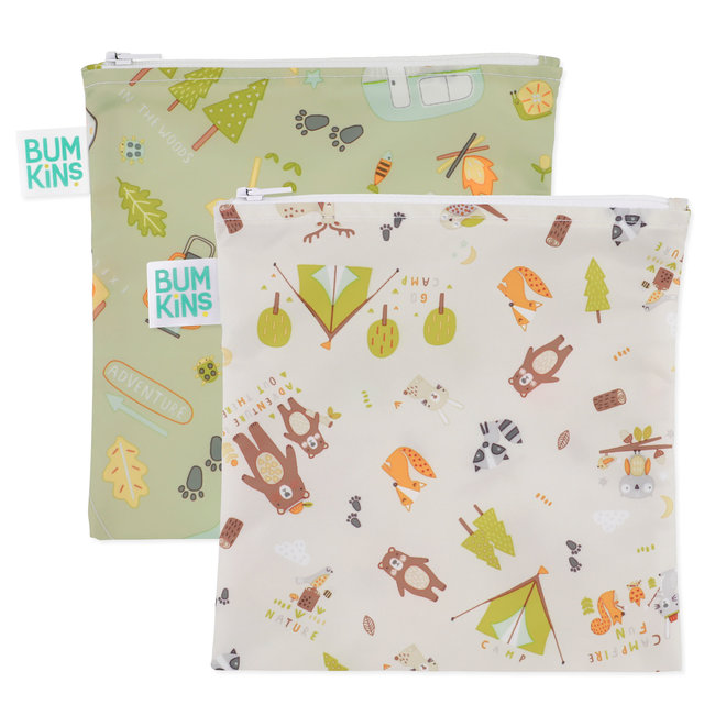 Bumkins Bumkins - Pack of 2 Reusable Large Bags, Happy Campers