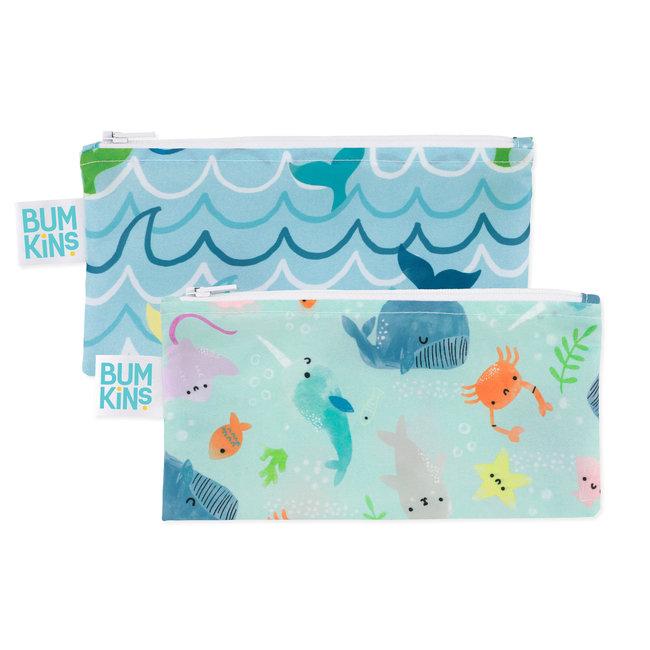 Bumkins Bumkins - Paquet de 2 Sacs à Collation Réutilisables,  Vie Aquatique