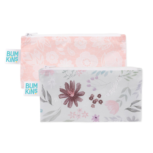 Bumkins Bumkins - Pack of 2 Small Reusable Snack Bags, Floral