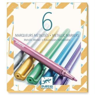 Djeco Djeco - Pack of 6 Markers, Metallics