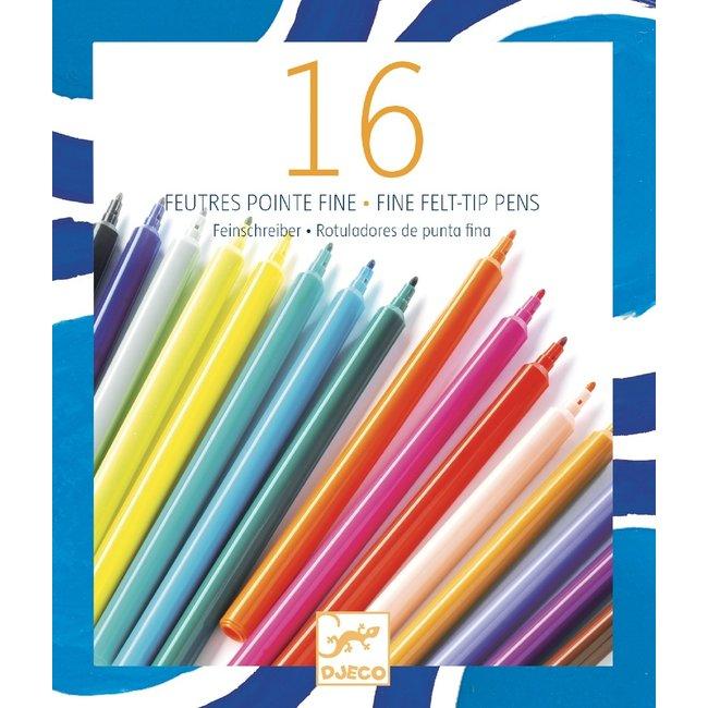 Djeco Djeco - Paquet de 16 Feutres, Pointe Fine