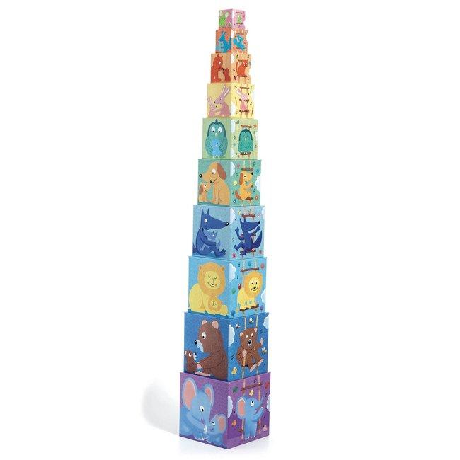 Djeco Djeco- 10 Cubes à Empiler, Arc-en-ciel