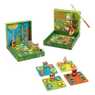 Djeco Djeco - 4 in 1 Educational Wooden  Game, Ludo Wood