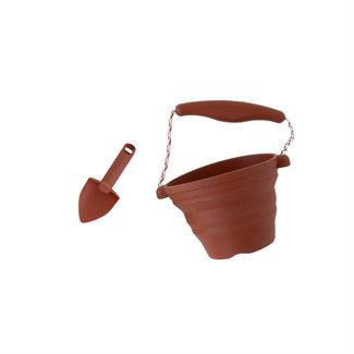 Scrunch Bucket Scrunch Bucket - Pot à Fleur et Truelle en Silicone, Rouille