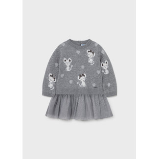 Mayoral Mayoral - Robe Tricot Tulle Souris, Acier