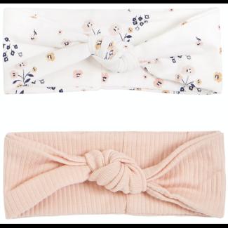 Petit Lem Petit Lem - Pack of 2 Organic Cotton Headbands, Pink Flowers