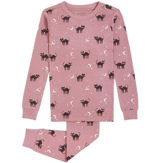 Petit Lem Petit Lem - Pyjama 2 Pièces en Coton Biologique, Vieux Rose Chats