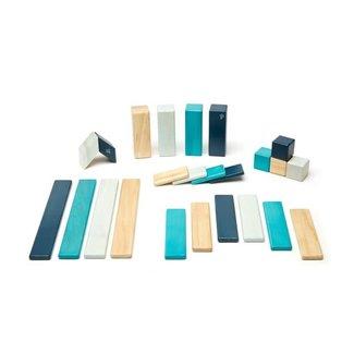 Tegu Tegu - Blocs de Bois Magnétiques 24 pièces, Bleu