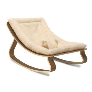 Charlie Crane Charlie Crane - Levo Rocker, Walnut with Fur Milk Cushion