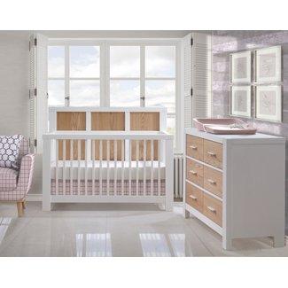 Natart Juvenile DEMO SALE - Natart Rustico Moderno - 5-in-1 Convertible Crib and Double Dresser Set, White-Natural Oak