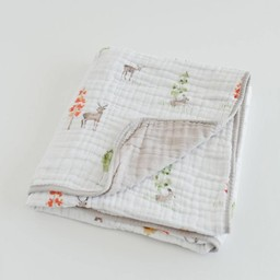 Little Unicorn Little Unicorn - Couette en Mousseline de Coton/Cotton Quilt, Petit Cerf/Oh Deer