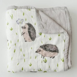 Little Unicorn Little Unicorn - Couette Deluxe en Mousseline de Bambou/ Deluxe Bamboo Muslin Quilt, Hedgehog/Hérisson