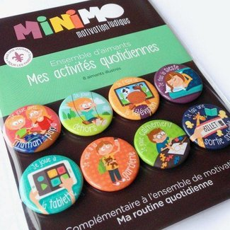 Minimo Minimo - Ensemble D'aimants de Motivation/Motivation Magnets Set, Mes Activités Quotidiennes/My Daily Activities
