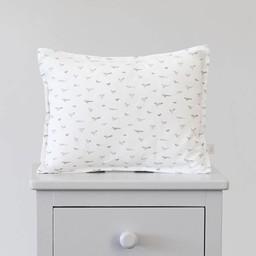 Bouton Jaune Bouton Jaune - Cache-Oreiller 10x13 Pouces/10x13 Inches Pillow Cover, Surpiqué Oiseaux, Liberté, Gris/Stitched Birds Grey