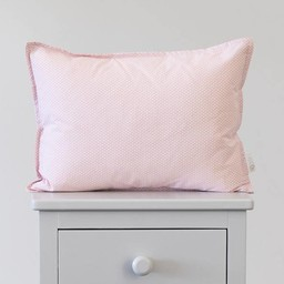 Bouton Jaune Bouton Jaune - Cache-Oreiller 12x16 Pouces/12x16 Inches Pillow Cover, Liberté, Surpiqué Pois Rose/Stitched Pink Dots