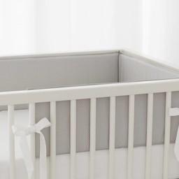 Bouton Jaune Bouton Jaune - Demi-Bordure de Lit/ Bed Half Bumper, Liberté, Pois Gris/Grey Dots