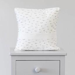 Bouton Jaune Bouton Jaune - Oreiller 12x12 avec Pochette/12x12 Pillow, Liberté, Oiseaux Gris/Grey Bird