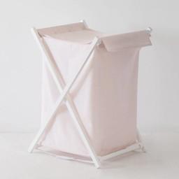 Bouton Jaune Bouton Jaune - Panier à Linge/Laundry Basket, Liberté, Rayé Rose/Pink Stripe