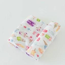 Little Unicorn Little Unicorn - Couverture en Mousseline de Coton à l'Unité/Single Cotton Muslin Blanket, Plaisirs Glacés/Brain Freeze