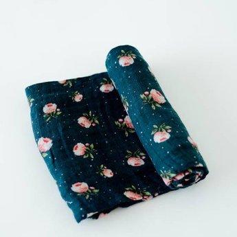 Little Unicorn Little Unicorn - Couverture en Mousseline de Coton à l'Unité/Single Cotton Muslin Blanket, Rose de Minuit/Midnight Rose