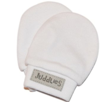 Juddlies Juddlies - Mitaines Anti-Égratignures/No-Scratch Mitts, Blanc et Gris/White and Grey