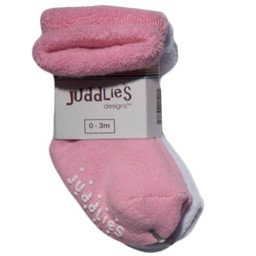 Juddlies Juddlies - Paquet de 2 Chaussettes pour Enfant/Pack of 2 Infant Socks, Rose et Blanc/Pink and White