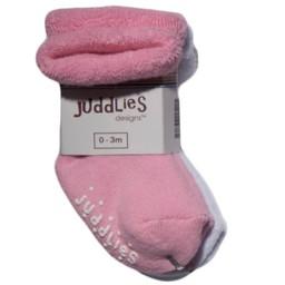 Juddlies Juddlies - Paquet de 2 Chaussettes pour Enfant/Pack of 2 Infant Socks, Rose et Blanc/Pink and White